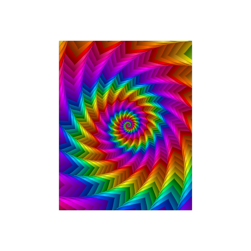 """Psychedelic Rainbow Spiral Fractal Poster 14""""x11"""""""