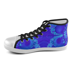 Mary's Veil Blue Fractal Abstract Men's High Top Canvas Shoes (Model 002)