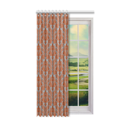 """autumn fall color red grey damask Window Curtain 52"""" x96""""(One Piece)"""