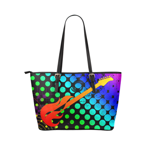 Fire Guitar Abstract Music by ArtformDesigns Leather Tote Bag/Large (Model 1651)