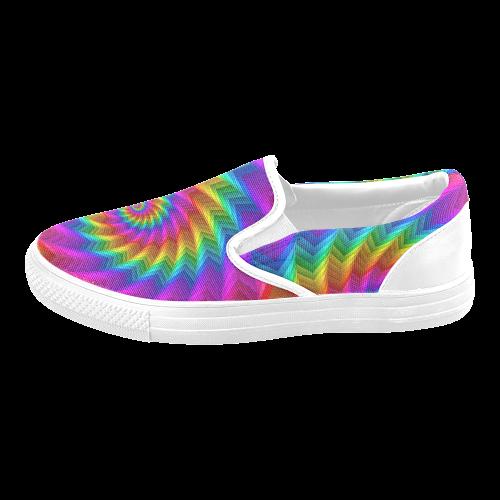 Psychedelic Rainbow Spiral Fractal Men's Slip-on Canvas Shoes (Model 019)