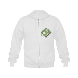 Green Dragon on Diamond Gildan Full Zip Hooded Sweatshirt (Model H02)