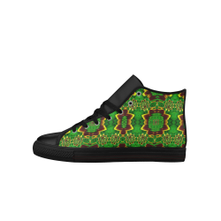 golden flowers in the green soft and silky Aquila High Top Microfiber Leather Men's Shoes (Model 027)