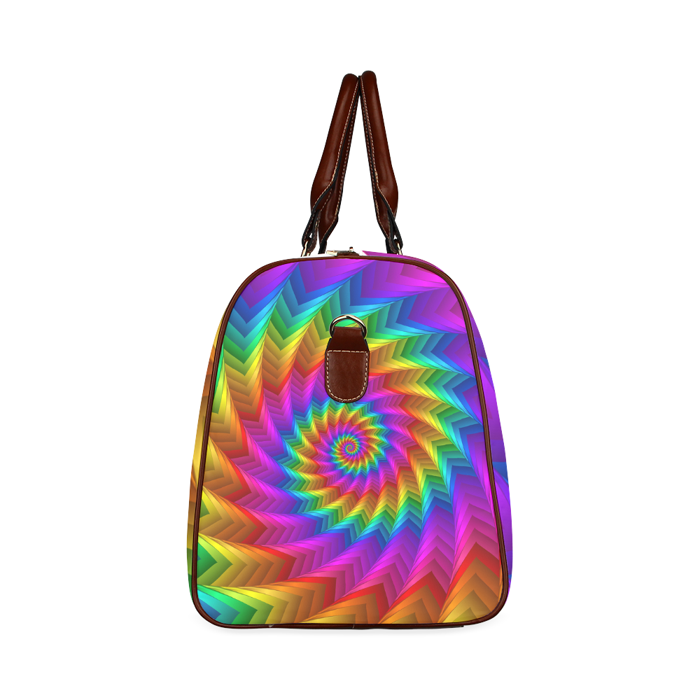 Psychedelic Rainbow Spiral Fractal Waterproof Travel Bag/Small (Model 1639)