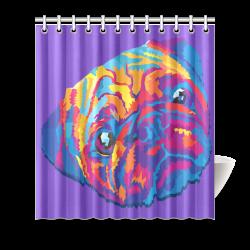 """pop art pug Shower Curtain 66""""x72"""""""