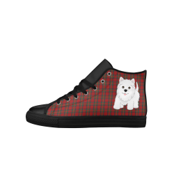 Tartan Plaid and Scottie Dog by ArtformDesigns Aquila High Top Microfiber Leather Women's Shoes (Model 027)