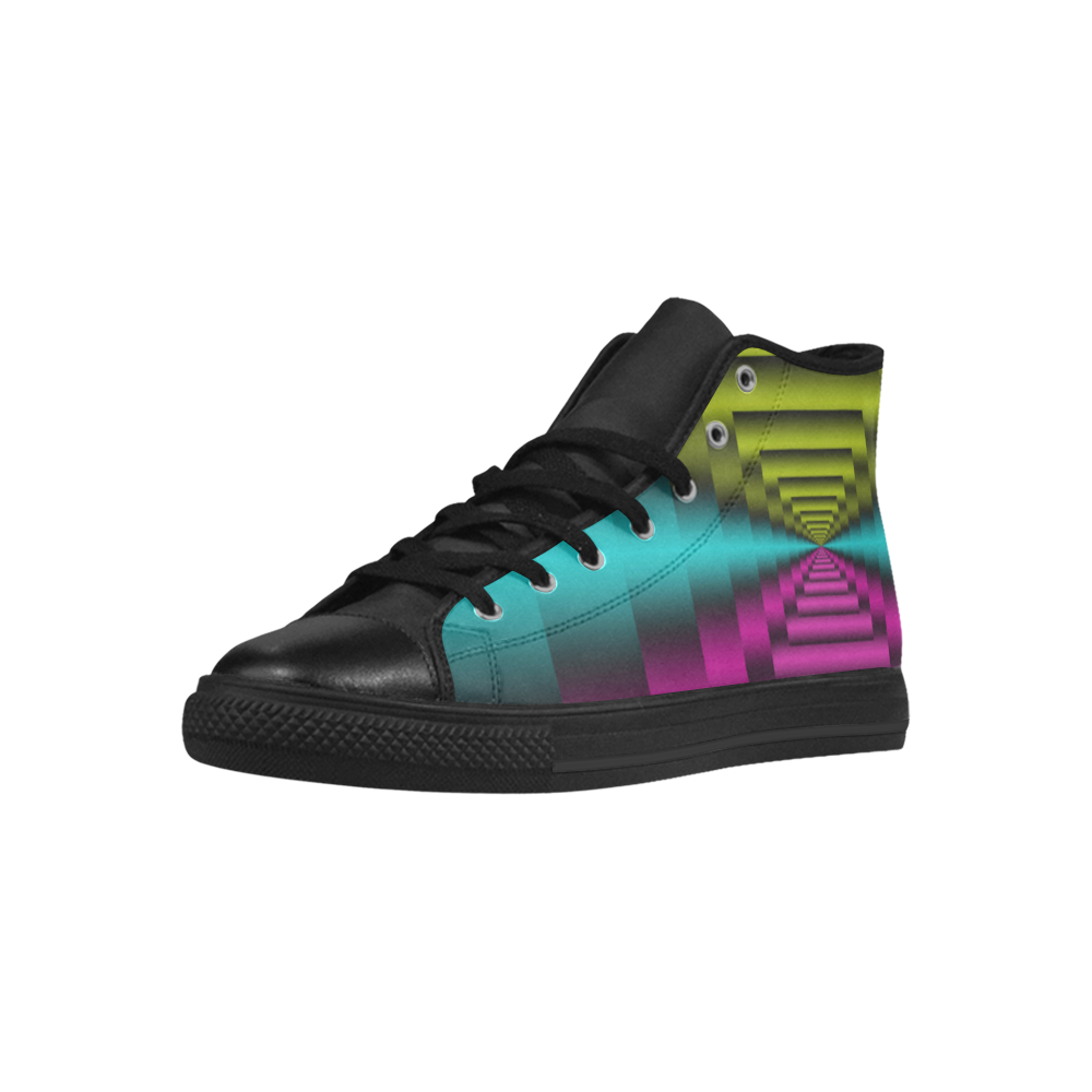 Colorful Autumn Dark Green Lilac Mint Aquila High Top Microfiber Leather Women's Shoes (Model 027)