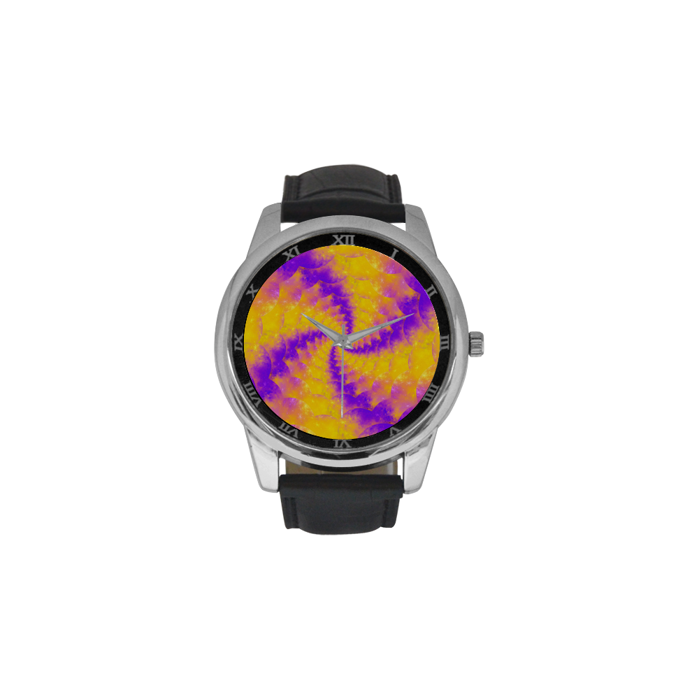 Colorexplosion Spiral Yellow Lilac Composion Men's Leather Strap Large Dial Watch(Model 213)