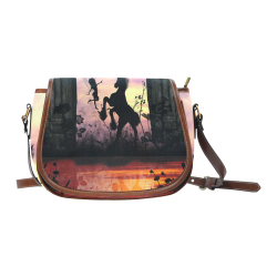 Wonderful fairy with foal in the sunset Saddle Bag/Small (Model 1649) Full Customization