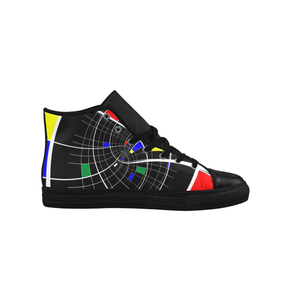 Swirl Grid with Colors Red Blue Green Yellow White Aquila High Top Microfiber Leather Women's Shoes (Model 027)