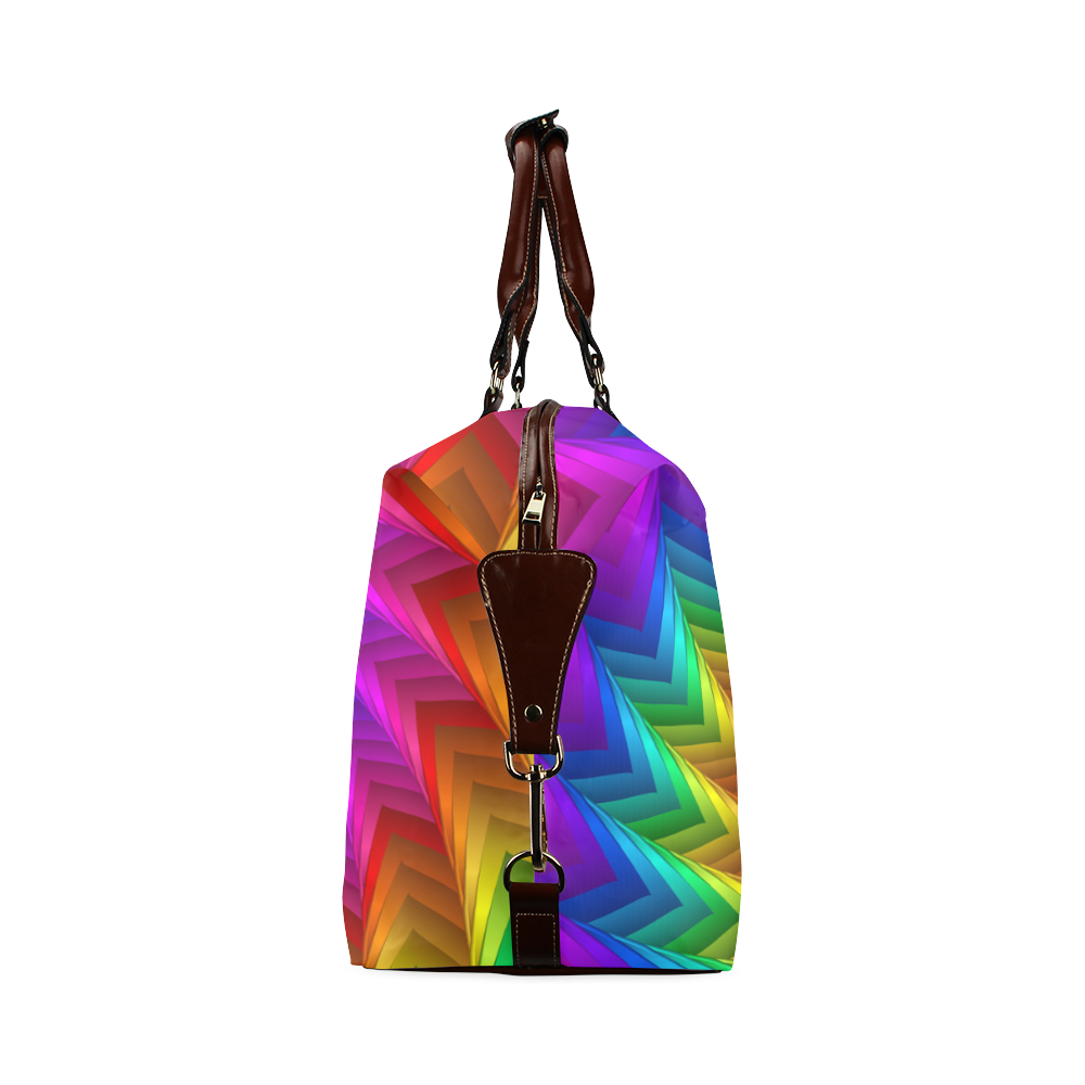 Psychedelic Rainbow Spiral Fractal Classic Travel Bag (Model 1643)