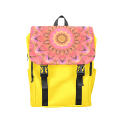 Abstract Peach Violet Mandala Ribbon Candy Lace Casual Shoulders Backpack (Model 1623)