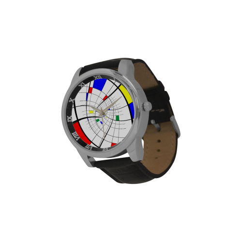 Swirl Grid with Colors Red Blue Green Yellow Men's Leather Strap Large Dial Watch(Model 213)
