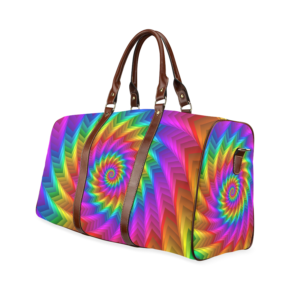 Psychedelic Rainbow Spiral Fractal Waterproof Travel Bag/Large (Model 1639)