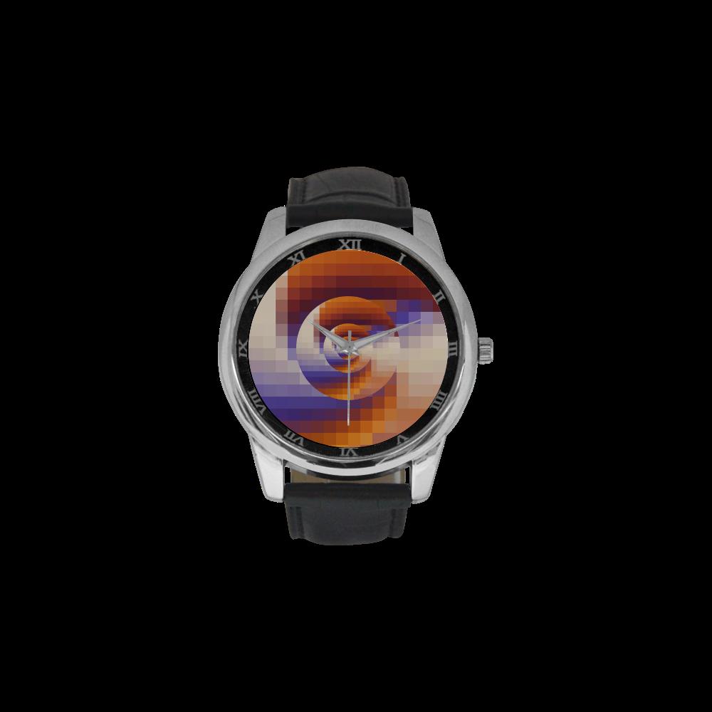 Desert Rose Pixel Play Sunrise Spiral Men's Leather Strap Large Dial Watch(Model 213)