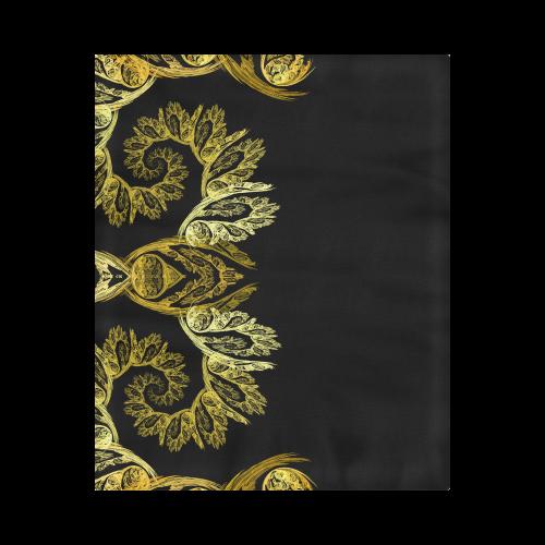 "Elegant Gold Floral Swirl Fractal Duvet Cover 86""x70"" ( All-over-print)"