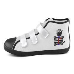 Cute Critters With Heart: Zebra With A Zipper Velcro High Top Canvas Kid's Shoes (Model 015)