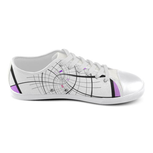 Swirl Grid Lilac Rose Spiral Women's Canvas Shoes (Model 016)