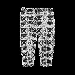 CELTIC KNOT pattern - black white Hestia Cropped Leggings (Model L03)