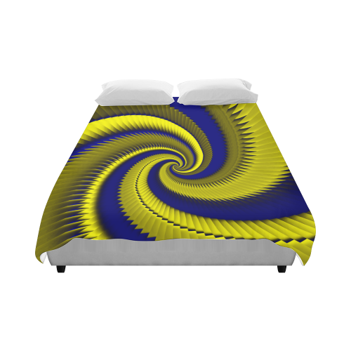 """Blue Gold Spiral Dragon Scales Duvet Cover 86""""x70"""" ( All-over-print)"""