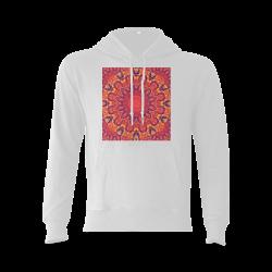 Sunburst, Abstract Peach Cream Orange Star Quilt Gildan Hoodie Sweatshirt (Model H03)