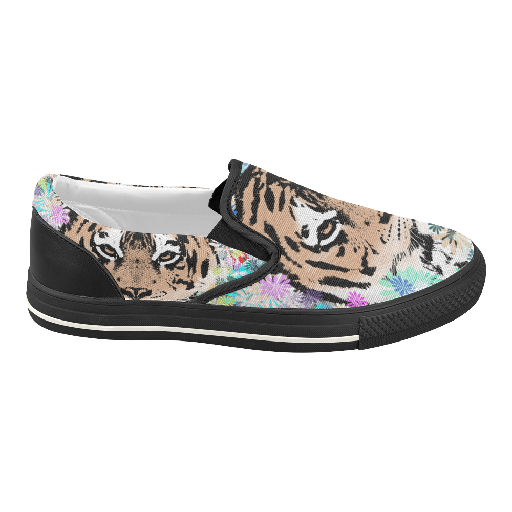 FLOWER TIGER Women's Slip-on Canvas Shoes (Model 019)
