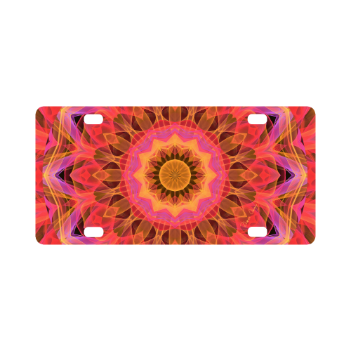 Abstract Peach Violet Mandala Ribbon Candy Lace Classic License Plate