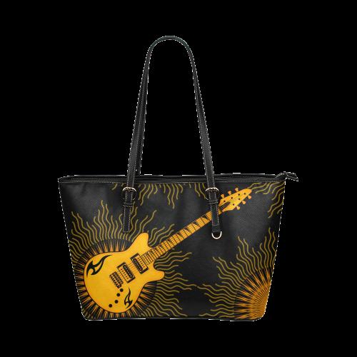 Tribal Sun Guitar by ArtformDesigns Leather Tote Bag/Large (Model 1651)