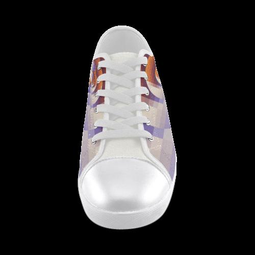 Desert Rose Pixel Play Sunrise Spiral Women's Canvas Shoes (Model 016)