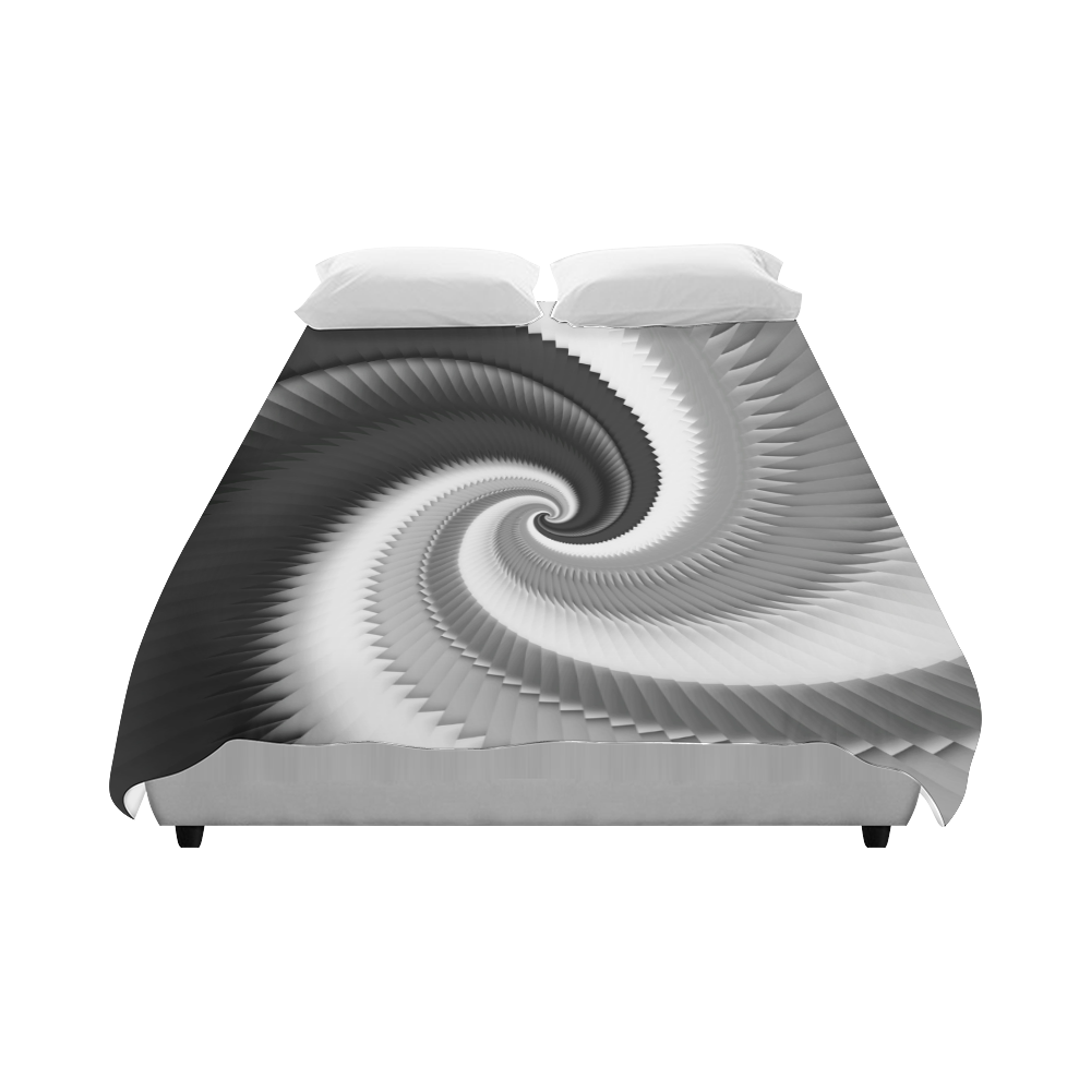 """Black and White Spiral Dragon Scales Duvet Cover 86""""x70"""" ( All-over-print)"""