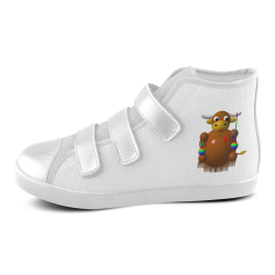 Cute Critters With Heart: Yak With Yo-Yos Velcro High Top Canvas Kid's Shoes (Model 015)