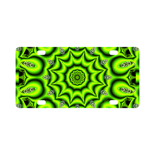 Spring Lime Green Garden Mandala, Abstract Spirals Classic License Plate