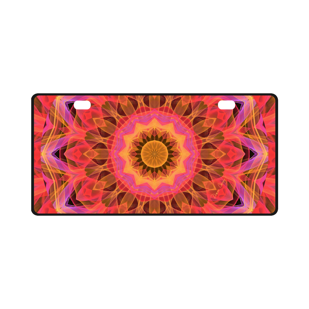 Abstract Peach Violet Mandala Ribbon Candy Lace License Plate