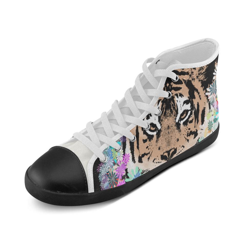 FLOWER TIGER High Top Canvas Kid's Shoes (Model 002)
