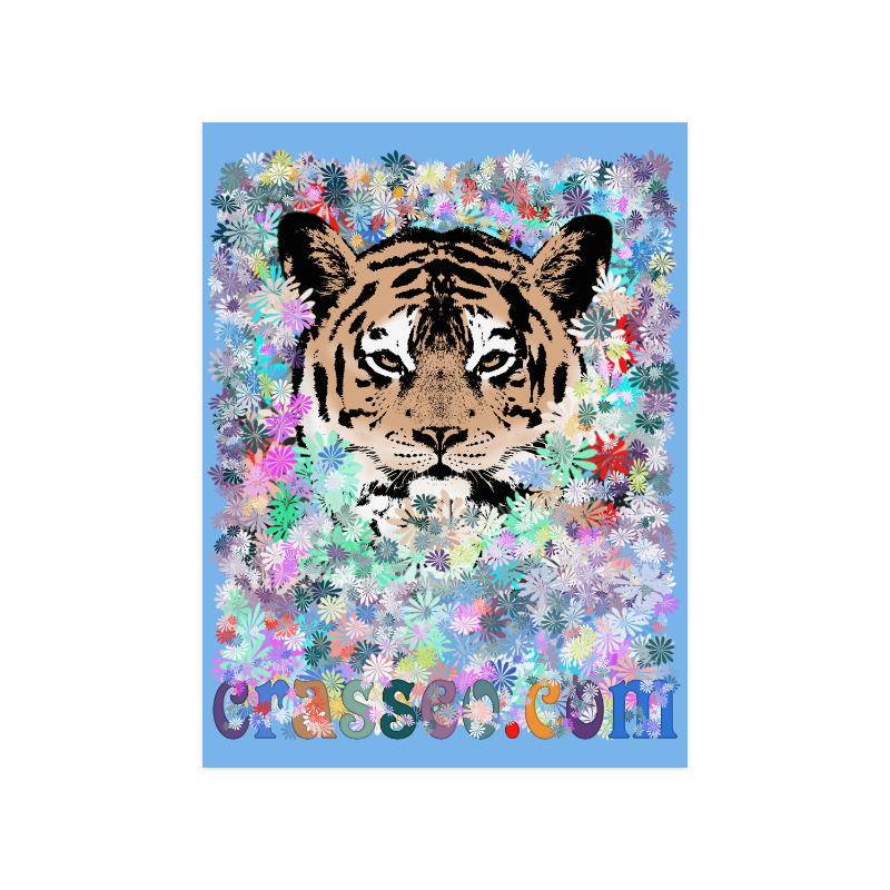 "FLOWER TIGER Poster 18""x24"""