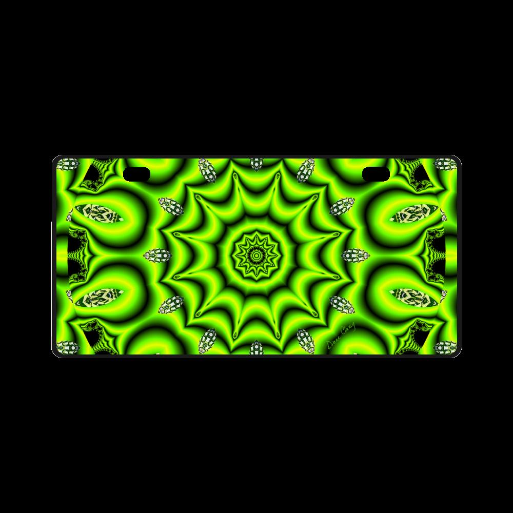 Spring Lime Green Garden Mandala, Abstract Spirals License Plate
