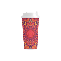 Sunburst, Abstract Peach Cream Orange Star Quilt Double Wall Plastic Mug
