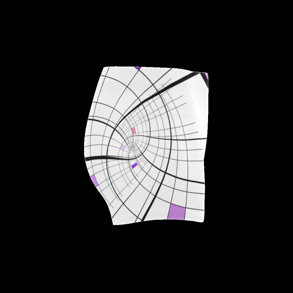 Swirl Grid Lilac Rose Spiral Briseis Skinny Shorts (Model L04)