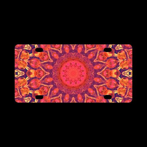 Sunburst, Abstract Peach Cream Orange Star Quilt Classic License Plate