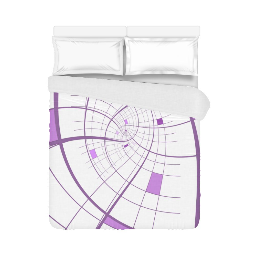 """Swirl Grid Lilac Rose Spiral Duvet Cover 86""""x70"""" ( All-over-print)"""