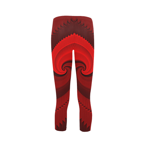 Red Rose Dragon Scales Spiral Capri Legging (Model L02)
