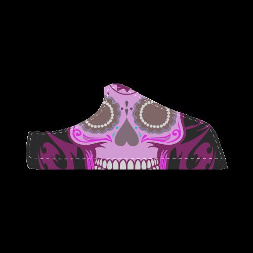SKULL FLOWER PINKY Women's Chukka Canvas Shoes (Model 003)