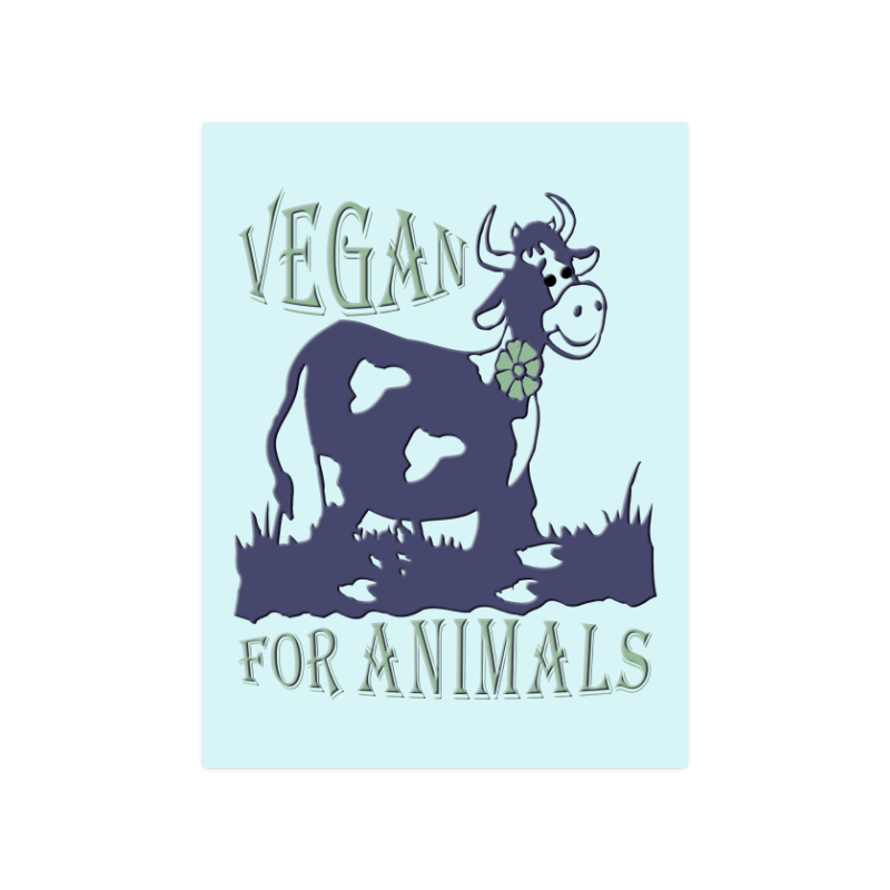 "vegan for animals Poster 18""x24"""