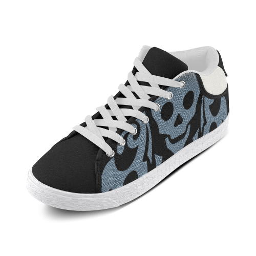 SKULL W/B Women's Chukka Canvas Shoes (Model 003)