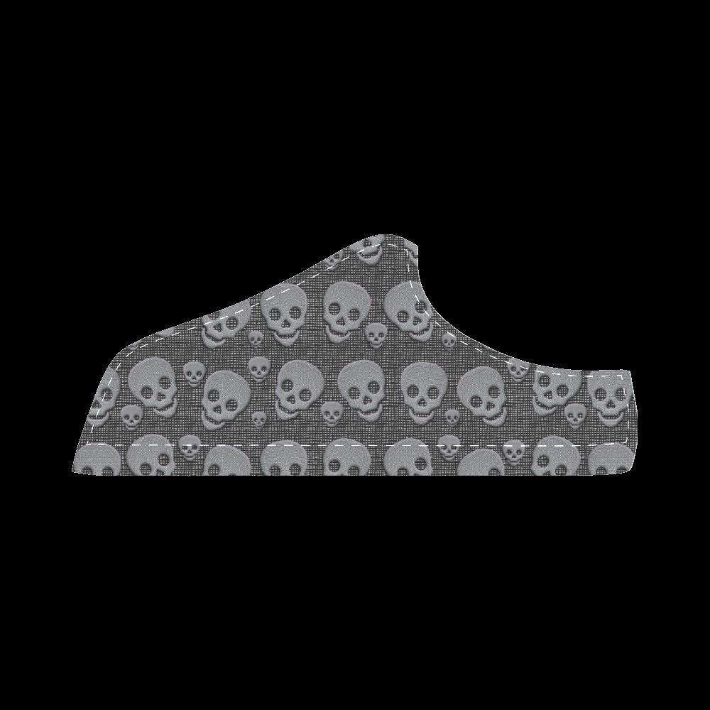 skulls two color II Women's Chukka Canvas Shoes (Model 003)