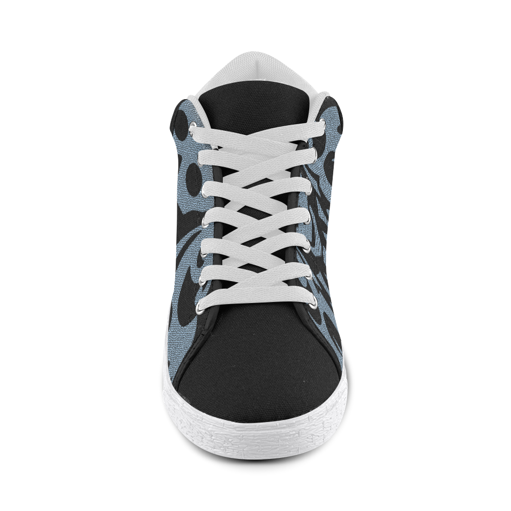SKULL W/B - Men Men's Chukka Canvas Shoes (Model 003)