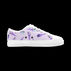Purple Ice Cream Fun Women's Canvas Zipper Shoes (Model 001)