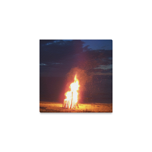 "Beach Bonfire Blazing Canvas Print 6""x6"""