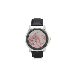 Marmol rosa Unisex Stainless Steel Leather Strap Watch(Model 202)