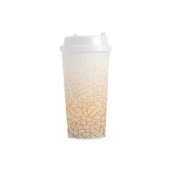 Gradient orange and white swirls doodles Double Wall Plastic Mug